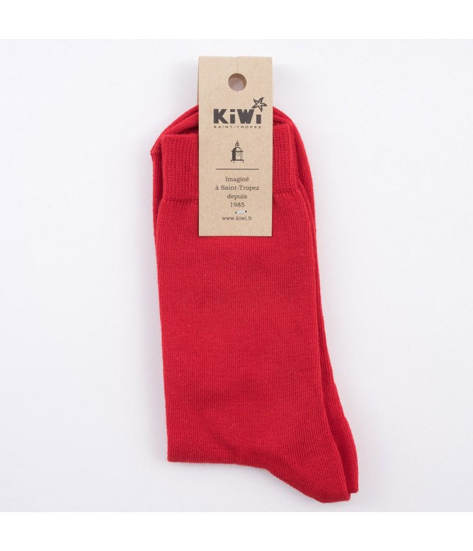 Chaussettes unies rouge